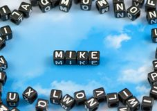 The word mike. On the sky background Royalty Free Stock Images