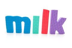 Word milk in foam letters Royalty Free Stock Photo