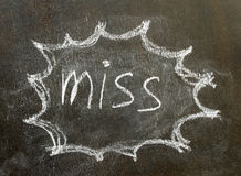 The word miss in bubble sign. Background stock photography