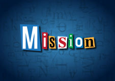 The word Mission made from cutout letters. On a blue background Royalty Free Stock Images