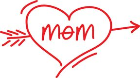 I love mom. The word mom on a hand drawn heart with an arrow through it Stock Images