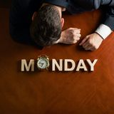 Word Monday and devastated man composition Royalty Free Stock Photos
