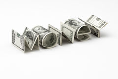 Word Money from dollars on white background Stock Images