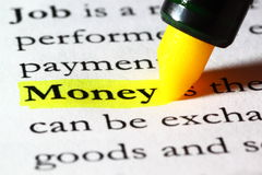 Word money highlighted with a yellow marker. The word money written on paper and highlighted with a yellow marker stock image