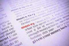 Word money, macro Royalty Free Stock Images