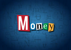 The word Money made from cutout letters. On a blue background Stock Photo