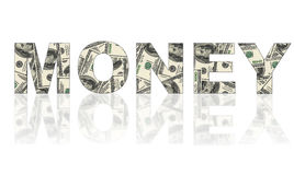 Word money made of dollars. On white background Royalty Free Stock Photo