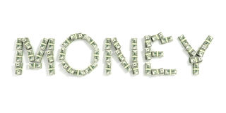 The word 'money', made out of 100$ bills. On white background Royalty Free Stock Photography