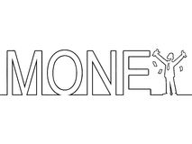 The word MONEY with a man standing in it Stock Images