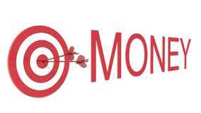 Word Money with target on white background Royalty Free Stock Photography