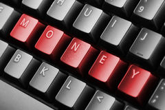 Word money written with keyboard buttons Stock Images