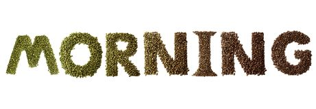 Word morning made of roasted and green coffee beans isolated on white background. stock photography