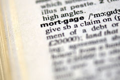 The word mortgage. Close-up of the word mortgage in a dictionary Stock Image