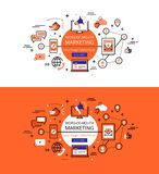 Word-of-mouth marketing. Flat linear hero images and hero banner royalty free illustration
