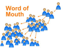 Word Of Mouth Represents Social Media Marketing And Connect Stock Photo