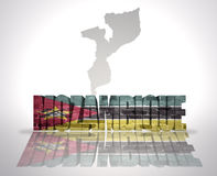 Word Mozambique on a map background Royalty Free Stock Photos