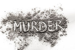 Word Murder written in ash royalty free stock photography