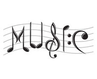 Word music as notes Royalty Free Stock Image