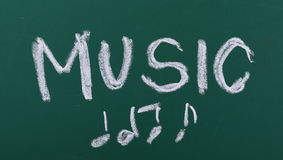 Word music and musical notes on chalkboard Royalty Free Stock Images