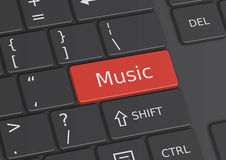 The word Music written on the keyboard. The word Music written on a red key from the keyboard Stock Photos