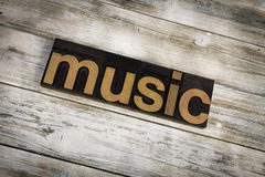 Music Letterpress Word on Wooden Background stock photos