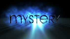 Word `mystery` on a deep fog with light rays. Word MYSTERY on a deep fog with light rays with blurry shadow stock illustration