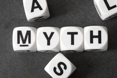 Word myth on toy cubes. Word myth on white toy cubes royalty free stock photography