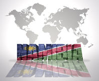 Word Namibia on a world map background. Word Namibia with Namibian Flag on a world map background Stock Photos