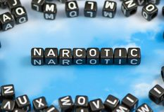 The word narcotic. On the sky background Stock Photos