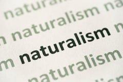 Word naturalisme op document macro wordt gedrukt die royalty-vrije stock foto's