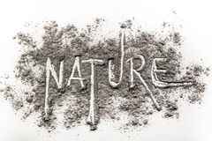 Word nature written in ash, dust as ecology danger concept Royalty Free Stock Images