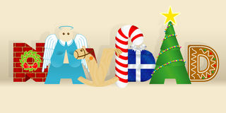 Word NAVIDAD -CHRISTMAS in Spanish language- consisting of a wall, an angel, a wooden horse, a candy cane, a gift, a decorated tre Stock Photography