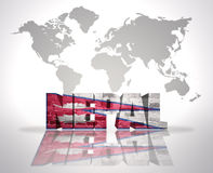 Word Nepal on a world map background Royalty Free Stock Image
