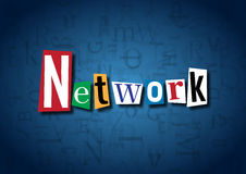 The word Network made from cutout letters. On a blue background Stock Image