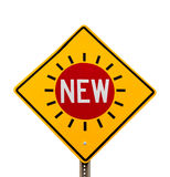 Word NEW traffic sign yellow diamond Royalty Free Stock Images