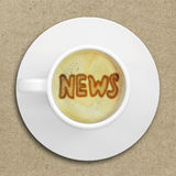 Word news in the coffee foam Royalty Free Stock Image