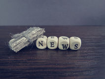 Word news on cubes Royalty Free Stock Images