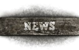 News. The word news on old wooden plank stock image