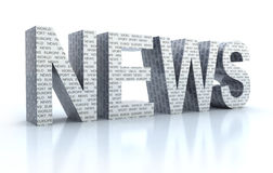 The Word news over white. 3D render Royalty Free Stock Photography