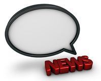 News speech bubble. The word news and speech bubble - 3d rendering Stock Image