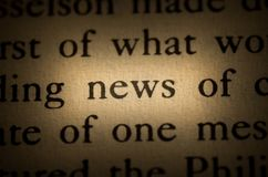Word news. In the text Royalty Free Stock Photo