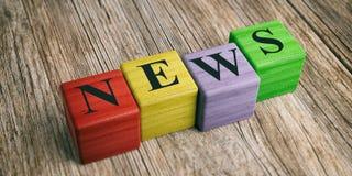 Word News on wooden blocks. 3d illustration Stock Photography