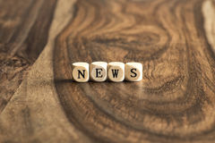 Word NEWS on wooden cubes Royalty Free Stock Image