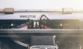 Word newsletter written on manual typewriter. Word newsletter written on vintage manual typewriter Royalty Free Stock Images