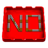 Word No in ashtray Stock Photos