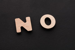 Word No on black background. Refusal, denial, negation concept Stock Photos