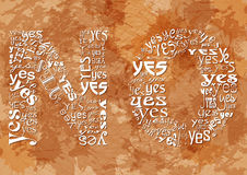 Word NO consisting of small YES on beige grunge background. Symbol of hidden meaning and ambiguity. Sign of indecision, contradiction, uncertainty and absence Stock Photo