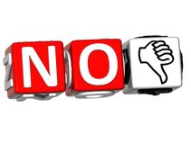 The word No in many different languages. Block text over white background Stock Image