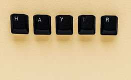 Word `NO` meaning `HAYIR` in Turkish written with keyboard key Royalty Free Stock Image