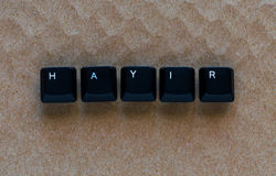 Word `NO` meaning `HAYIR` in Turkish written with keyboard key Stock Photos